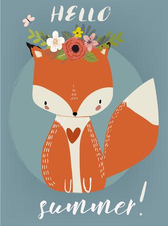 Summer Cute Fox  イラスト・ベクター素材