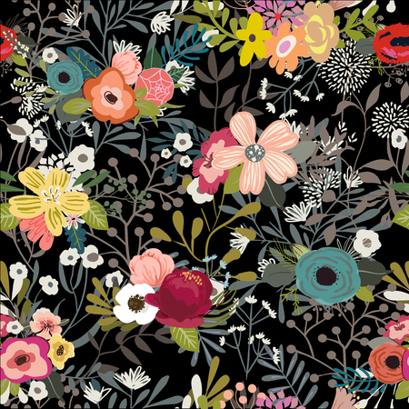 vintage vector floral doodle colorful seamless pattern  イラスト・ベクター素材