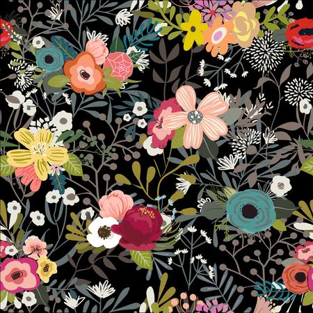 vintage vector floral doodle colorful seamless pattern Stock Illustratie
