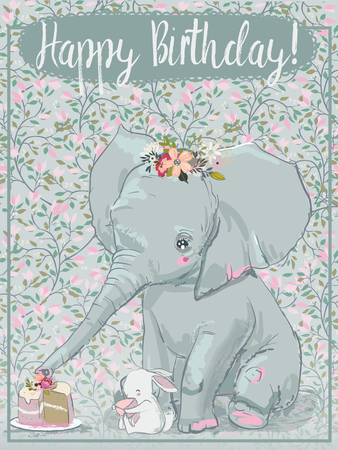 cute elephant with little hare Stock Illustratie
