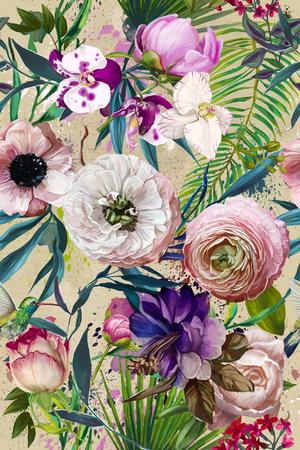 エキゾチックな熱帯の葉と花のシームレス パターン