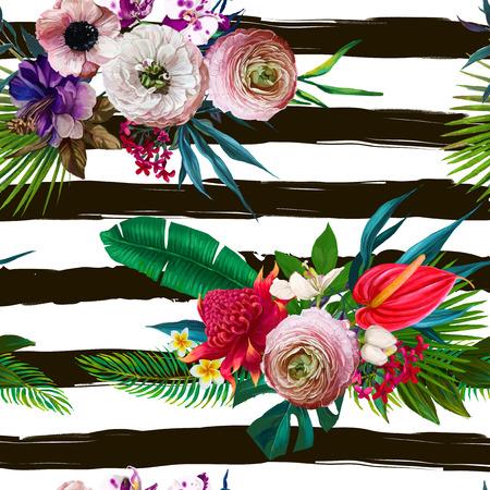 Modello senza saldatura con foglie e fiori tropicali esotici Archivio Fotografico - 78977934