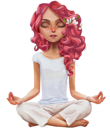 cute cartoon yoga girl 版權商用圖片