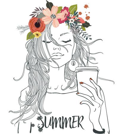 Mooi portret van cartoon meisje met cofee cup