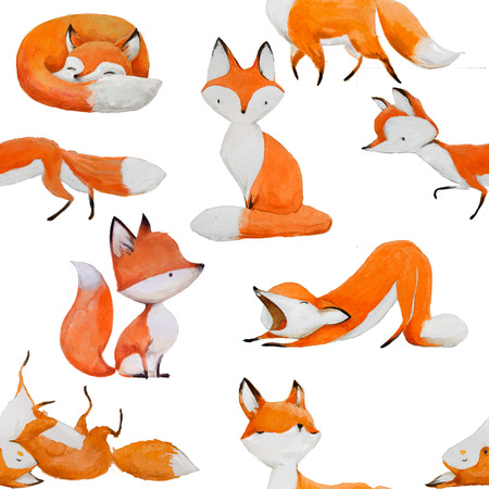 seamless pattern with cute fox Фото со стока