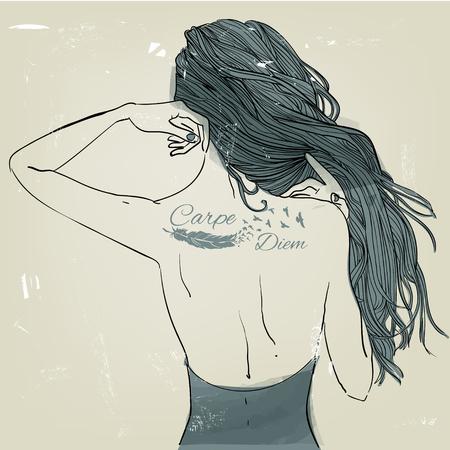 タトゥーの若くてきれいな女性