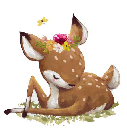かわいい水彩画鹿 写真素材