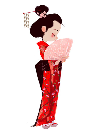 Cute Girl in Geisha dress Фото со стока