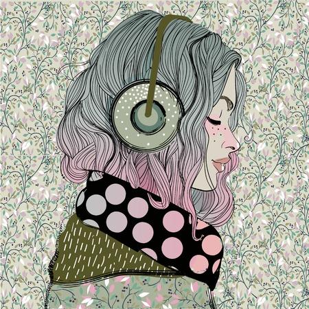 헤드폰 아름다운 소녀 스톡 콘텐츠 - 80861479