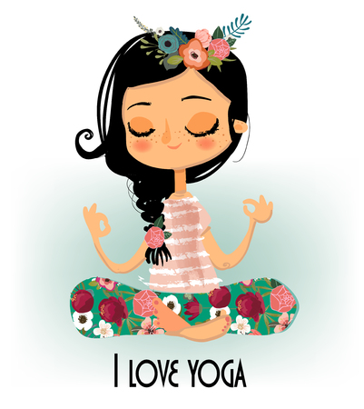 cute cartoon yoga girl 向量圖像