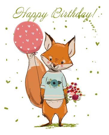 Cute Birthday Fox vector illustration.