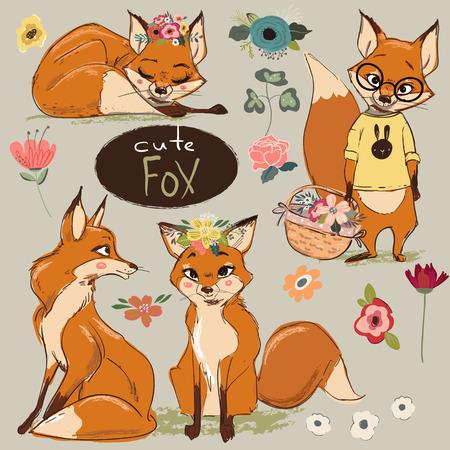 Set met Cartoon Fox Stock Illustratie