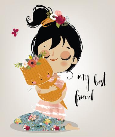Linda chica de verano con el gato Ilustración de vector