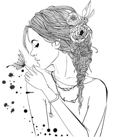 美しい少女と蝶  イラスト・ベクター素材