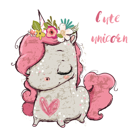 Cute cartoon unicorn. Illustration