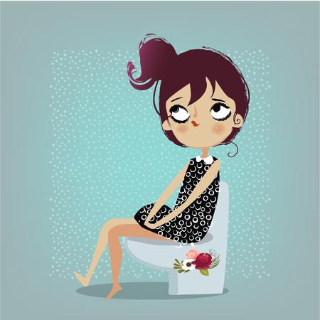 Niedlichen Cartoon-Mädchen Standard-Bild - 83182782
