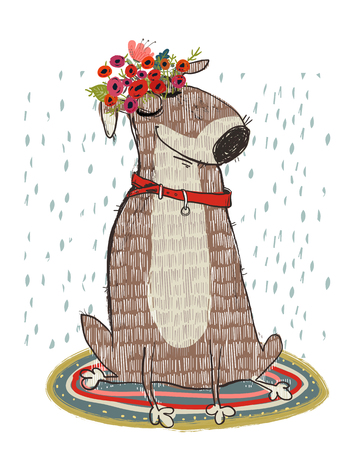 cute cartoon dog Ilustrace