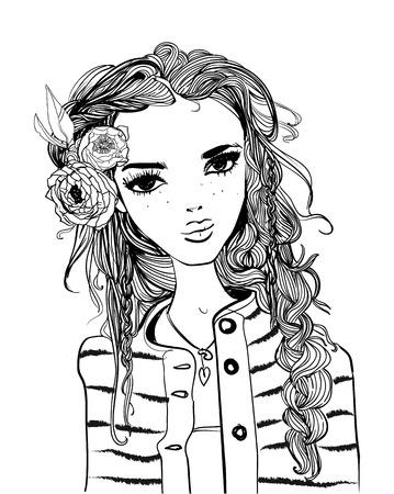 Portret van een jonge vrouw met lang haar Stock Illustratie