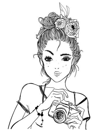 portret van een jonge vrouw met camera Stock Illustratie