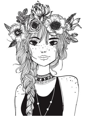 긴 머리와 그녀의 머리카락 온통 꽃과 젊은 여자의 초상화 일러스트