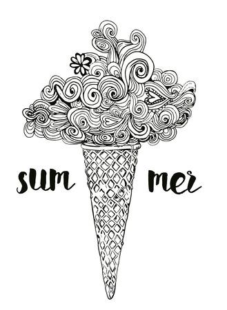 Visueel mooi ijs met het onderschrift 'zomer' in zwart en wit Stock Illustratie
