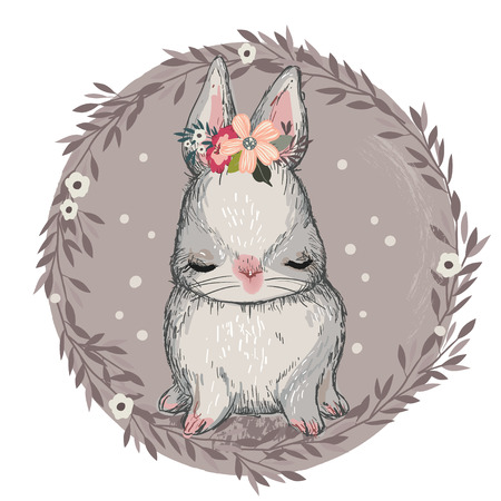 cute cartoon hare with its eyes shut and flower over its head