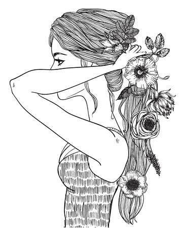 髪の長い若い女性の肖像画