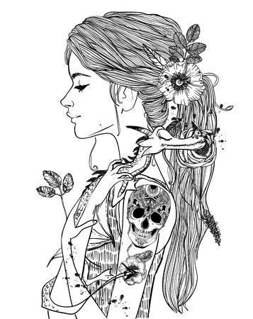 小さなドラゴンを持つ若い女性の肖像画  イラスト・ベクター素材