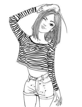 ラットを持つ若い女性の肖像画  イラスト・ベクター素材