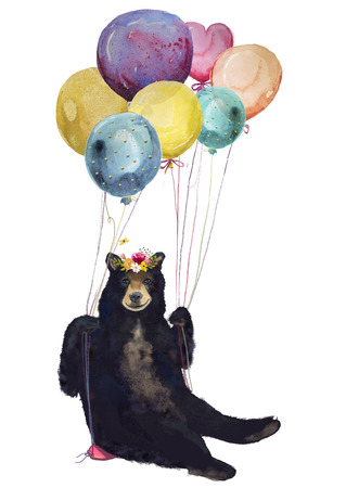 watercolor bear fly with balloons 스톡 콘텐츠