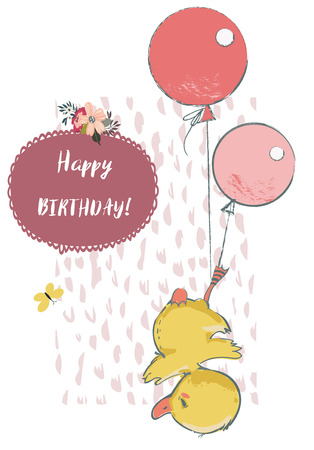 Cute duck with balloons on white background, vector illustration.