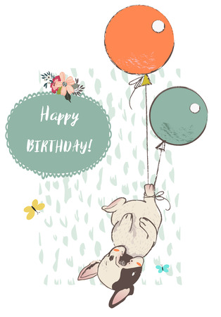cute dog with balloons Stock Illustratie