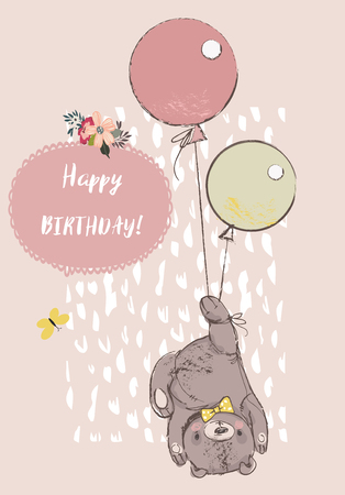 cute reddy bear with balloons