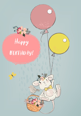 schattige muis met ballonnen Stock Illustratie