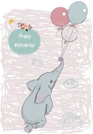 Schattige olifant vliegen met ballonnen Stockfoto - 84989056