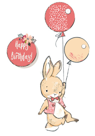 cute hare with balloons