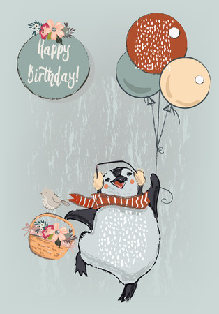 cute penguin with balloons