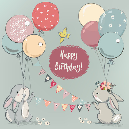 cute hares with balloons