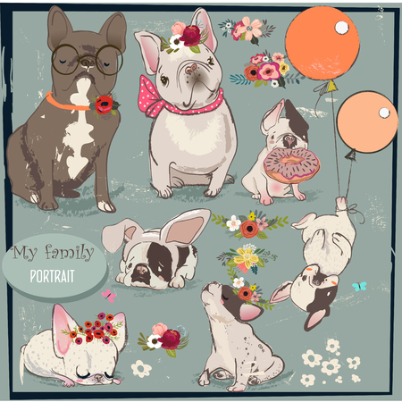 Set with cute bulldogs family