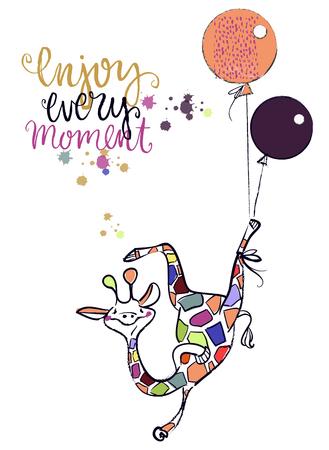 Cute cartoon giraffe with balloon, vector illustration. Illustration