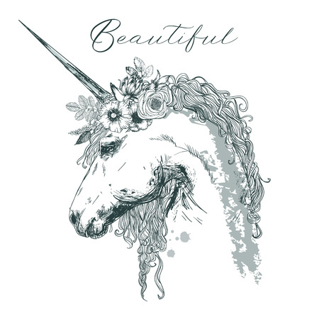 beautiful unicorn with floral wreath