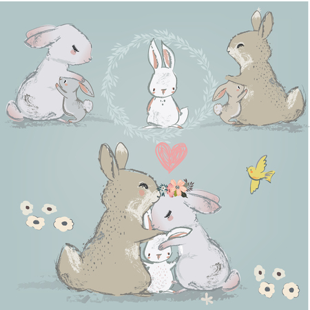 cute hares couple with children Stock Photo