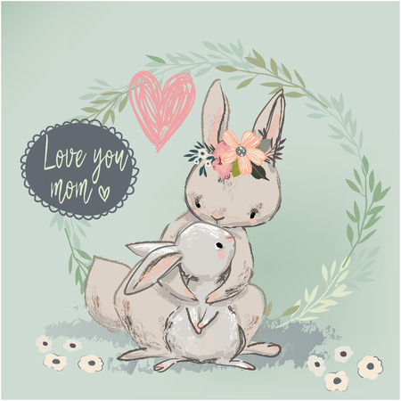 cute hare with child. vector illustration Фото со стока