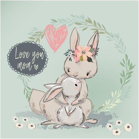 cute hare with child. vector illustration Standard-Bild
