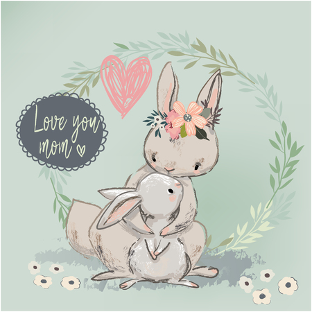 cute hare with child Stock Photo