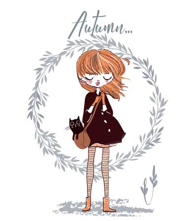 Leuk herfst meisje met kat op haar tas.