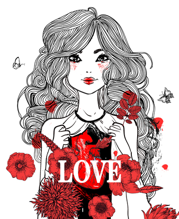 Beautiful girl with flowers and long hairs vector illustration Ilustração