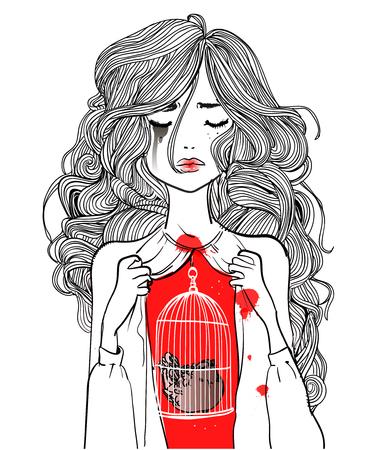 Sketch of a girl holding a bird in a cage. Ilustração
