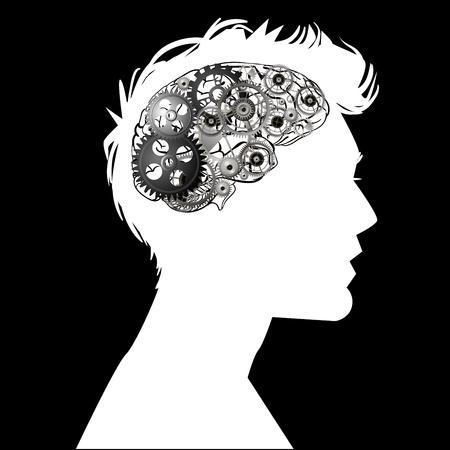 het hoofd van een man met hersenmechanisme