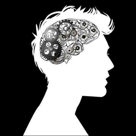 the head of a man with brain mechanism Ilustracja